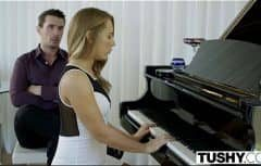 She has sex with the piano teacher who has a big cock