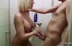 Blonde German Milf With Big Tits Fucked By A Young Man In The Shower