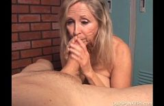 An Elderly Woman Sucks A Cock In The Locker Room