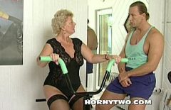 The Old Woman At Fitnes Conquered By A Man Well Made For Sex