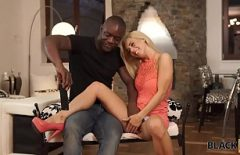 The Blonde Fucks A Black Man And Sucks His Cock