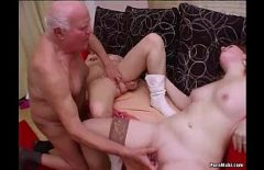 The Old Man With White Hair Tries To Fuck Two Nieces In The Pussy