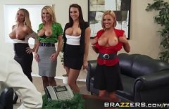 The Secretaries Gather At The Boss's Office To Give Him A Blowjob