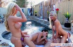 Pool Sex With Three Pussies Sucking A Big Cock