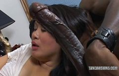 The Filipino Sucks A Huge Black Cock And Gets Free In Her Mouth