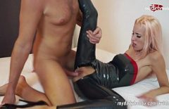 The Blonde With Round Tits Dressed In Latex Sucks Her And Fucks Her On The Couch