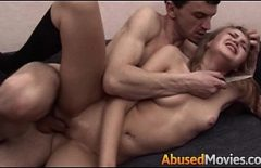 The Blonde Was Forced To Fuck In Her Own Apartment
