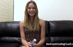 Blonde Filmed Swallowing Cum At An Interview