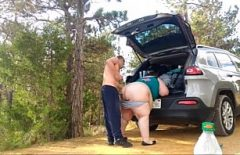 Fat Put Her Big Ass Up On The Car And Fucked As Hard As He Could