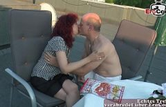 The Redhead Created And Her Husband Kiss Intensely On The Terrace Where They Like