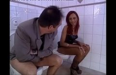 A Blonde And A Redhead Fucked By Two Men In The Toilet And In The Bedroom