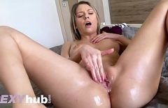 The Porn Actress Masturbates To The Pussy As Best She Can