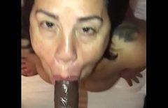 Filmed By The Man While Sucking His Big Black Cock