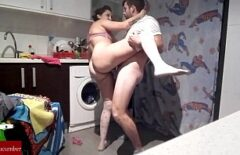 Fat Gypsy Sucks Cock And Fucks With One In The Kitchen