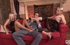 Two Blondes Penetrated Hard In The Pussy By A Man With Sex Desire