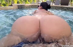 Perverted Latina Has Sex In The Pool With David
