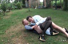 Two Lunatics Start Having Sex Outside In The Backyard