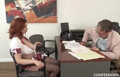 The Redhead Makes A Paw With Her Tits And Fucks Herself On The Chair