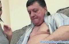 Cute Brunette Fucks A Fat Old Man
