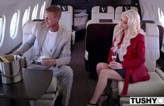 The Blonde Drinks Until She Gets Drunk And Then Fucks Hard On The Plane